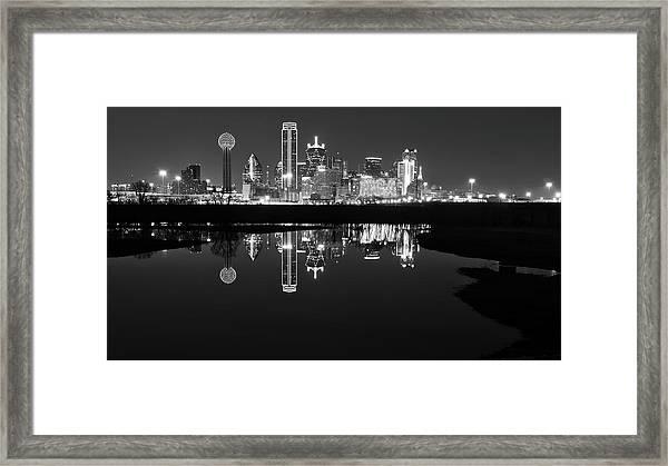 Dallas Texas Cityscape Reflection Framed Print