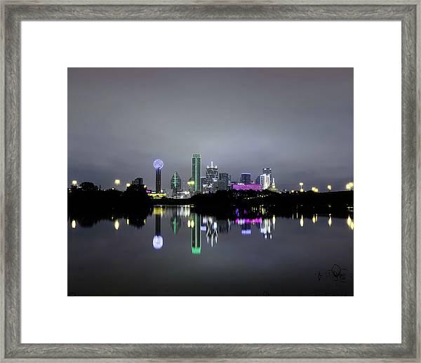 Dallas Texas Cityscape River Reflection Framed Print