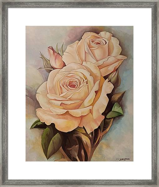 Framed Print featuring the painting Damask Roses by Said Marie