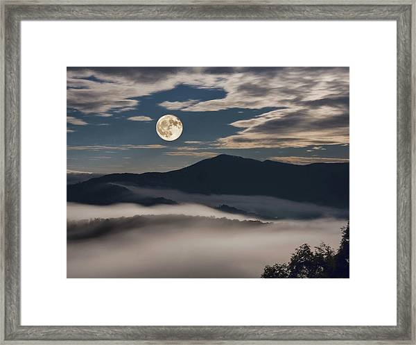 Dance Of Clouds And Moon Framed Print