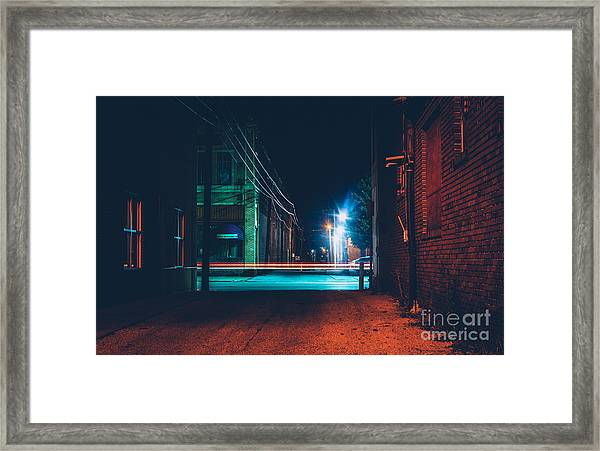 Dark Alley And Light Trails In Hanover Framed Print
