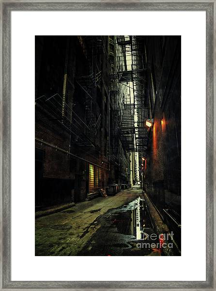 Dark Chicago Alley Framed Print