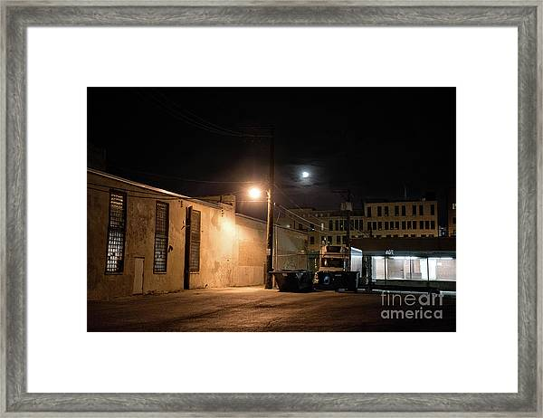 Dark Chicago City Alley At Night With The Moon Framed Print