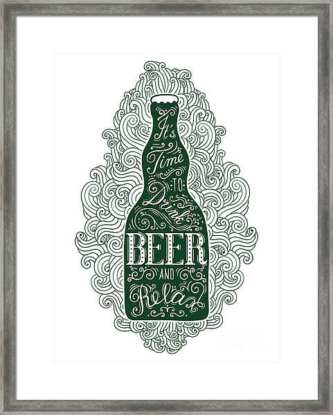 Dark Green Beer Bottle With Lettering Framed Print