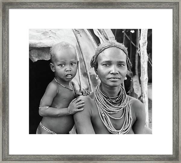 Dassanech Mother And Baby 2 Framed Print
