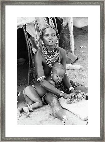Dassanech Mother And Child Framed Print