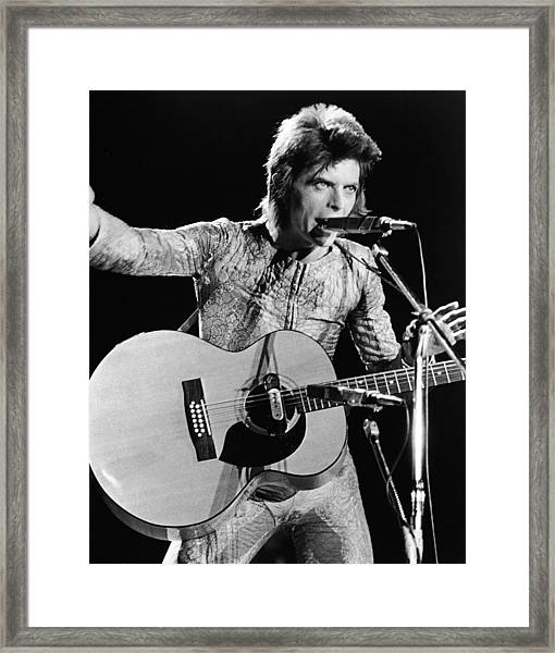 David Bowie Performing As Ziggy Stardust Framed Print by Hulton Archive