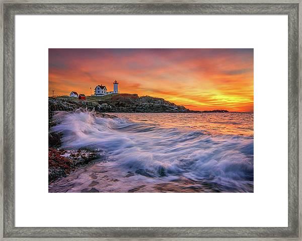 Dawn At Cape Neddick Lighthouse Framed Print