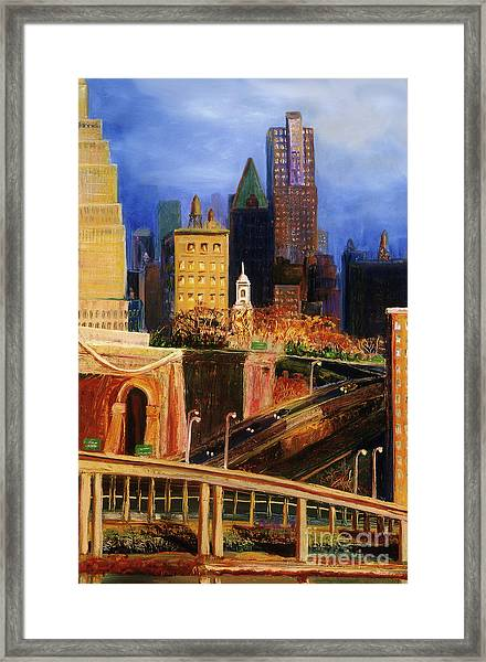 Dawn At City Hall Framed Print