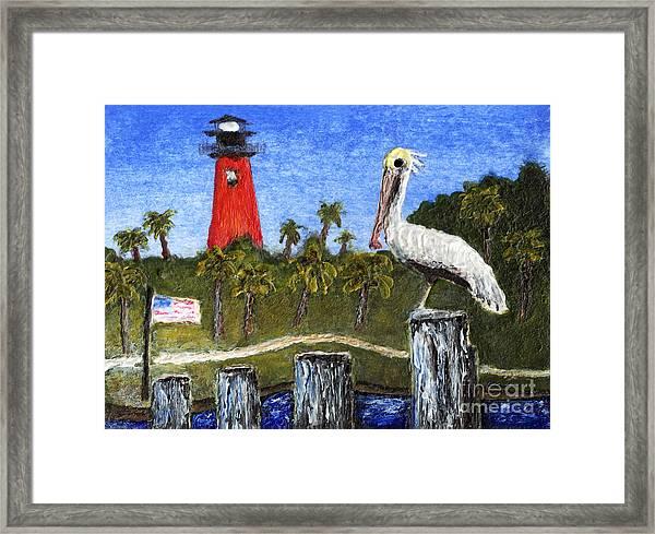 Aceo Dawn At Jupiter Inlet Lighthouse Florida 52a Framed Print