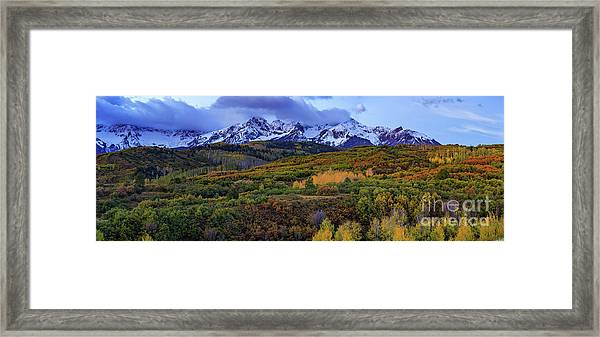 Dawn At The Dallas Divide Panoramic Framed Print