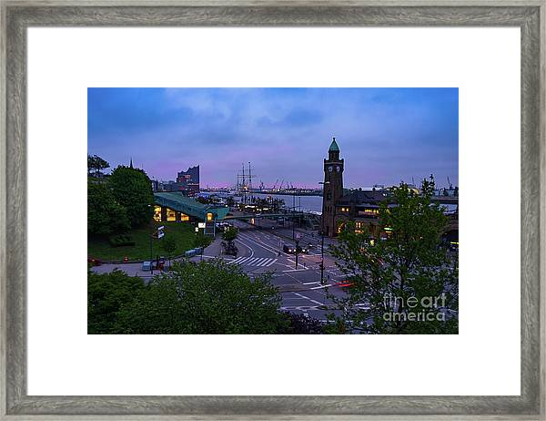 Dawn Over The Port And City Hamburg Panorama Framed Print