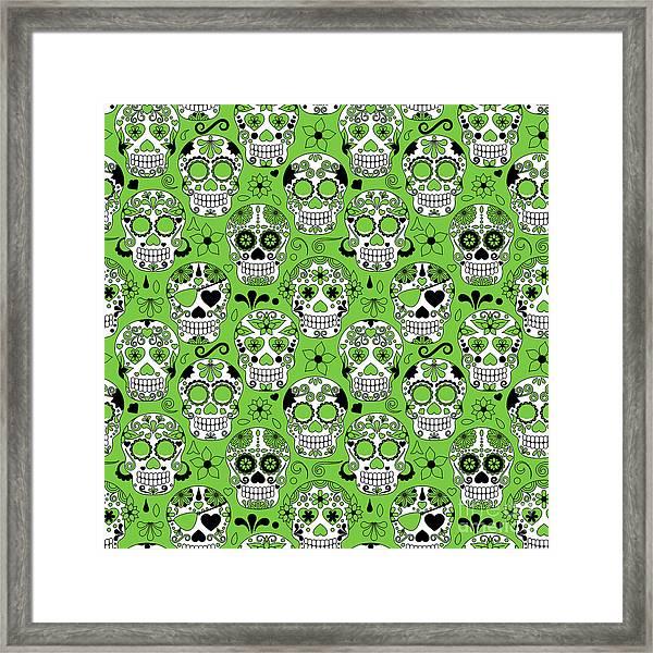 Day Of The Dead Sugar Skull Seamless Framed Print by Pinkpueblo