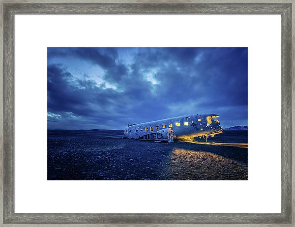 Dc-3 Plane Wreck Illuminated Night Iceland Framed Print