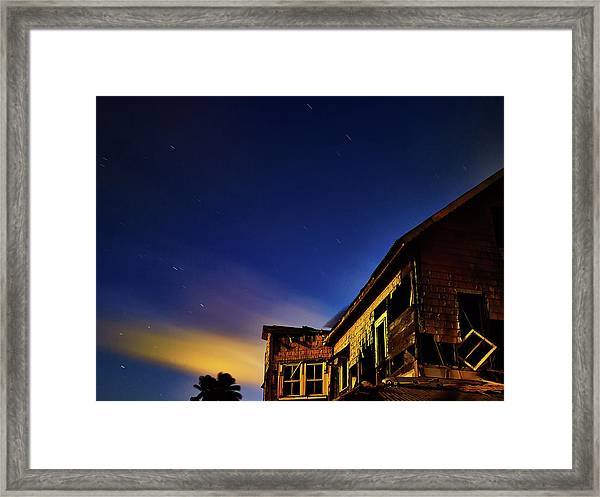 Decaying House In The Moonlight Framed Print