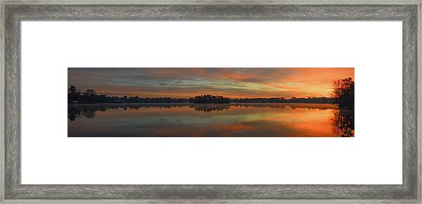 Framed Print featuring the photograph December Sunrise Over Spring Lake by Beth Sawickie