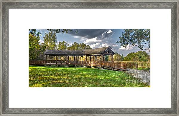 Deck At Pickerington Ponds Framed Print