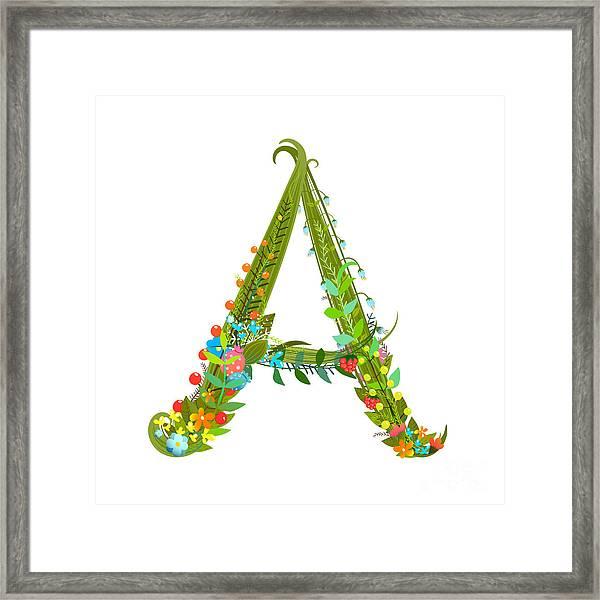 Decorative Botanical Elegant Alphabet Framed Print
