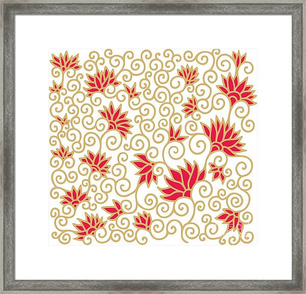 Decorative Floral Composition With Framed Print by Aniana