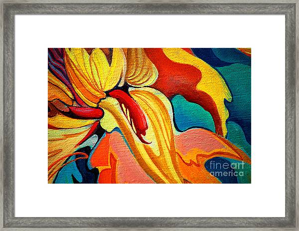 Decorative Flower Painting By Oil On Framed Print