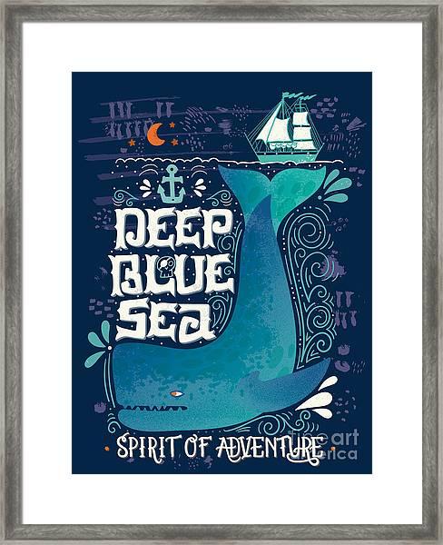 Deep Blue Sea. Hand Drawn Nautical Framed Print