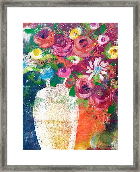 Delightful Bouquet 2- Art By Linda Woods Framed Print