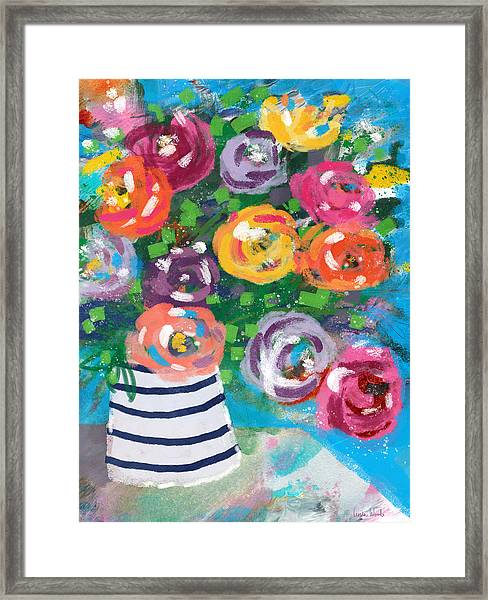 Delightful Bouquet 6- Art By Linda Woods Framed Print