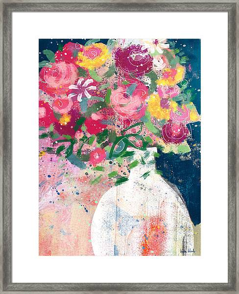 Delightful Bouquet- Art By Linda Woods Framed Print