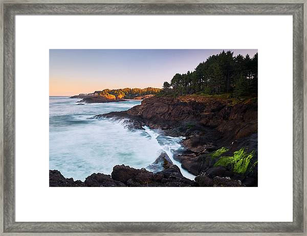 Framed Print featuring the photograph Depoe Bay Sunrise by Whitney Goodey