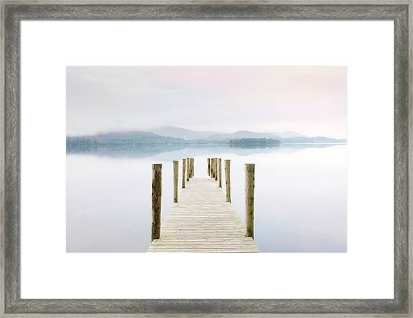 Derwent Water Jetty On A Misty Morning Framed Print