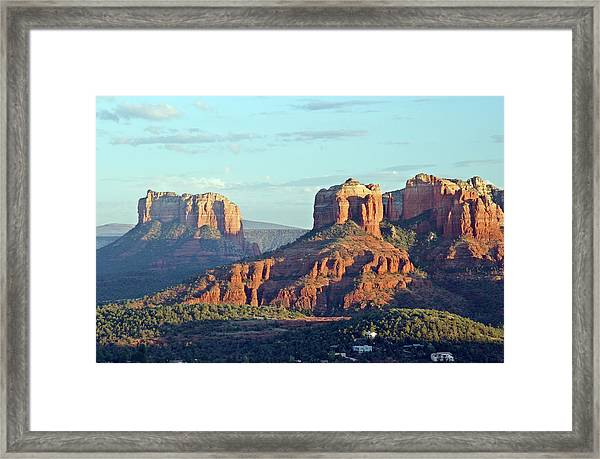 Desert Canyons In Front Of A Blue Sky Framed Print