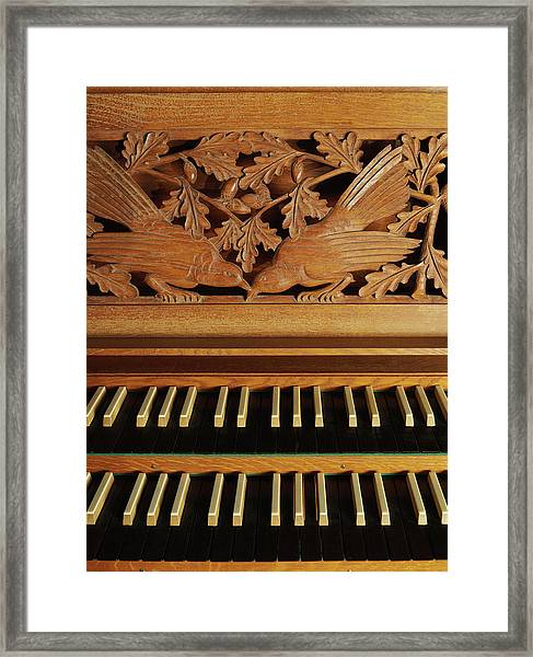Detail Of A Pipe Organ With A Wooden Framed Print by Hudzilla
