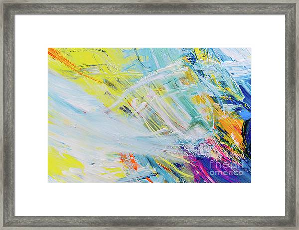 Detail Of Brush Strokes Of Random Colors To Use As Background An Framed Print