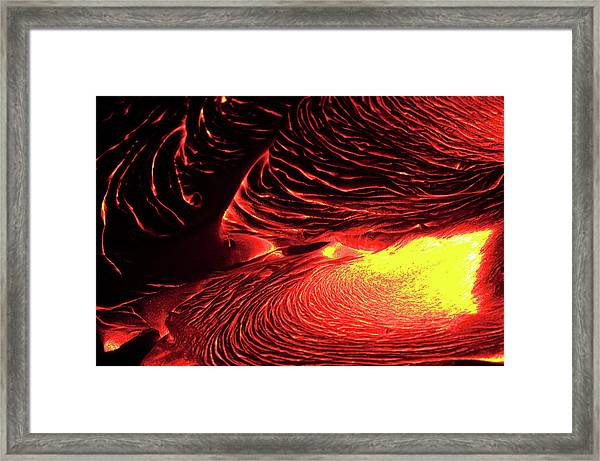 Detail Of Flowing Lava, Hawaii Framed Print