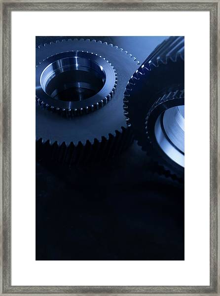 Detail Of Matching Gears In Blue Framed Print by Caracterdesign