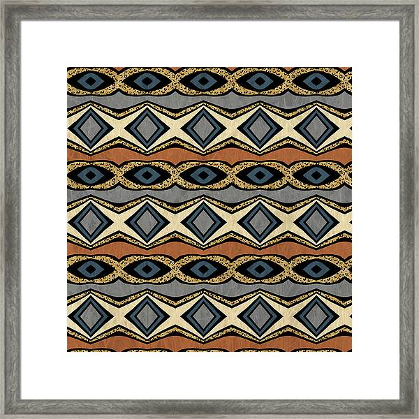 Diamond And Eye Motif With Leopard Accent Framed Print