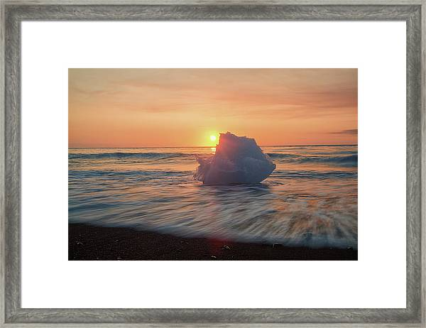 Diamond Beach Sunrise Iceland Framed Print