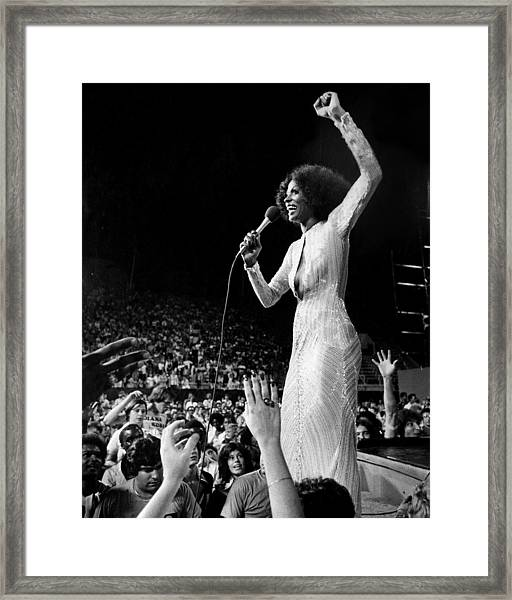 Diana Ross Hands Reach For The Stars As Framed Print