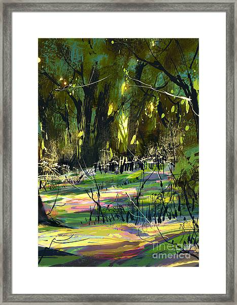 Digital Painting Of Beautiful Colorful Framed Print
