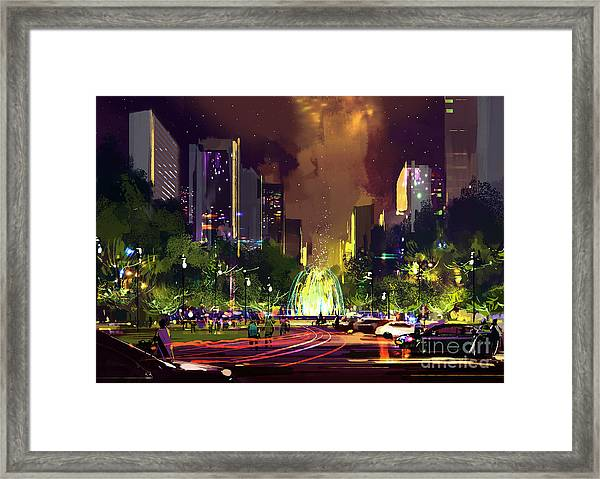 Digital Painting Of Bright Color Framed Print