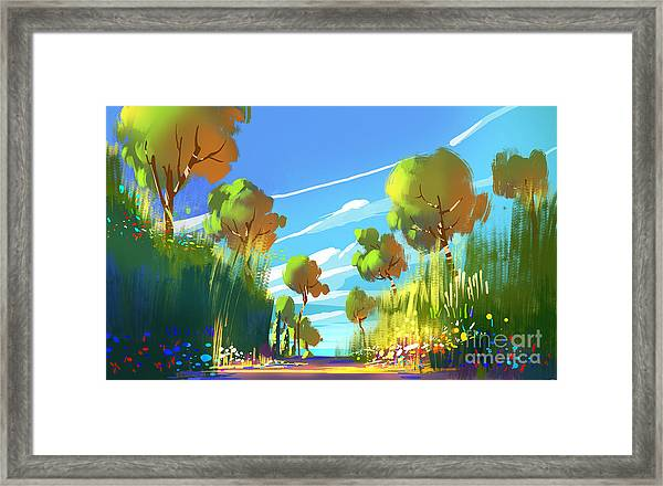 Digital Painting Of Colorful Forest And Framed Print