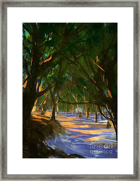 Digital Painting Of Forest On The Framed Print