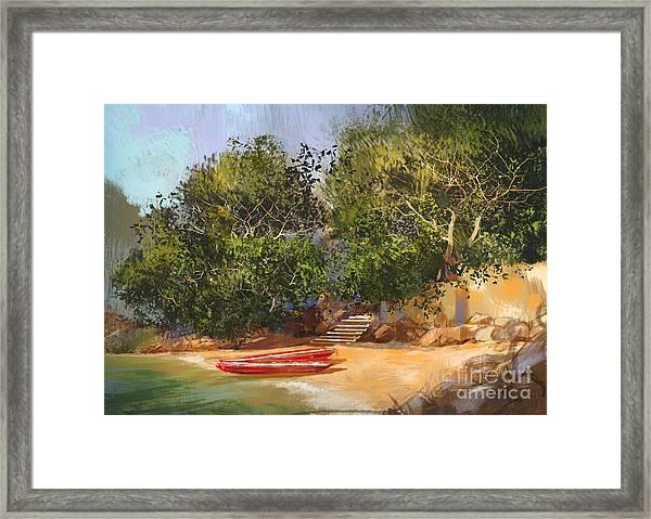 Digital Painting Of Tropical Framed Print