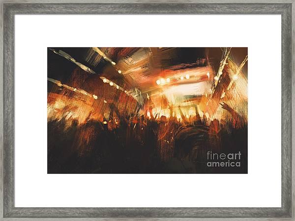 Digital Painting Showing Cheering Crowd Framed Print
