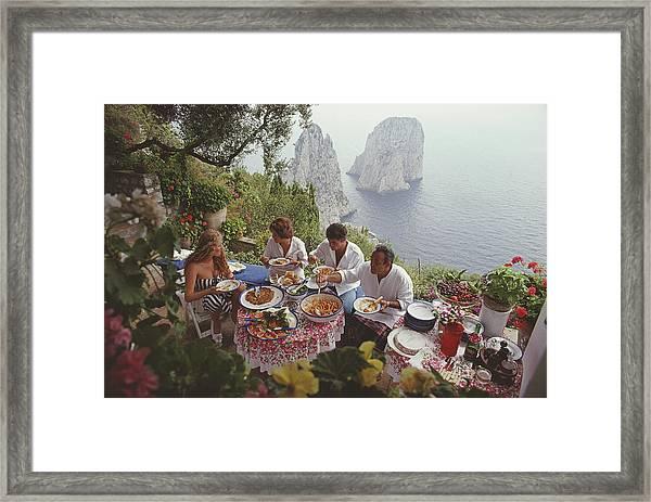 Dining Al Fresco On Capri Framed Print
