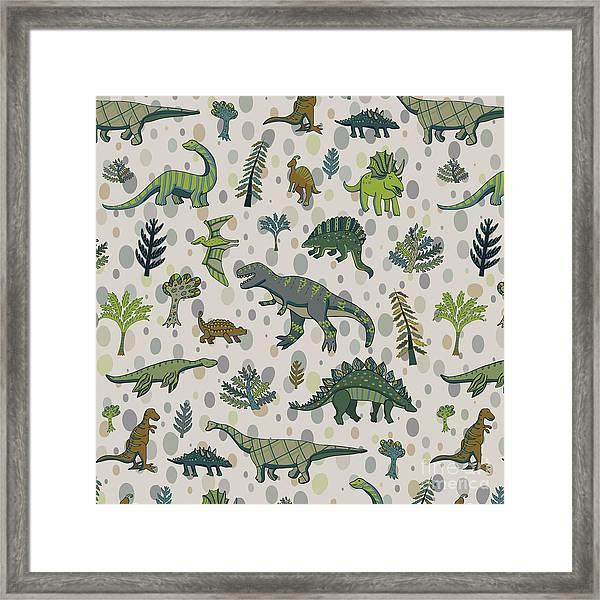 Dinosaur Pattern Framed Print by Goosefrol