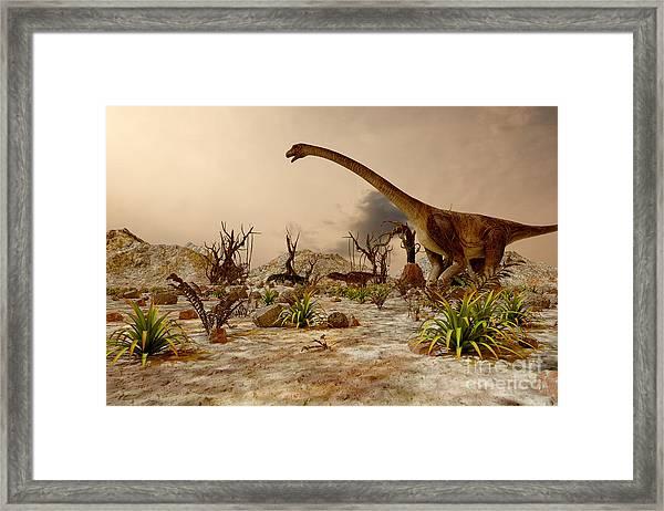 Dinosaur. Prehistoric Jungle Framed Print