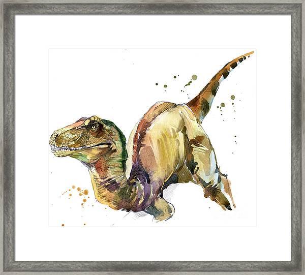 Dinosaur Watercolor Illustration Framed Print