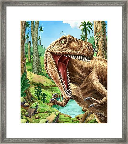 Dinosaurs Living In The Jungle Framed Print