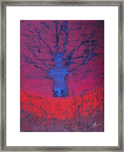 Disappearing Tree Original Painting Framed Print